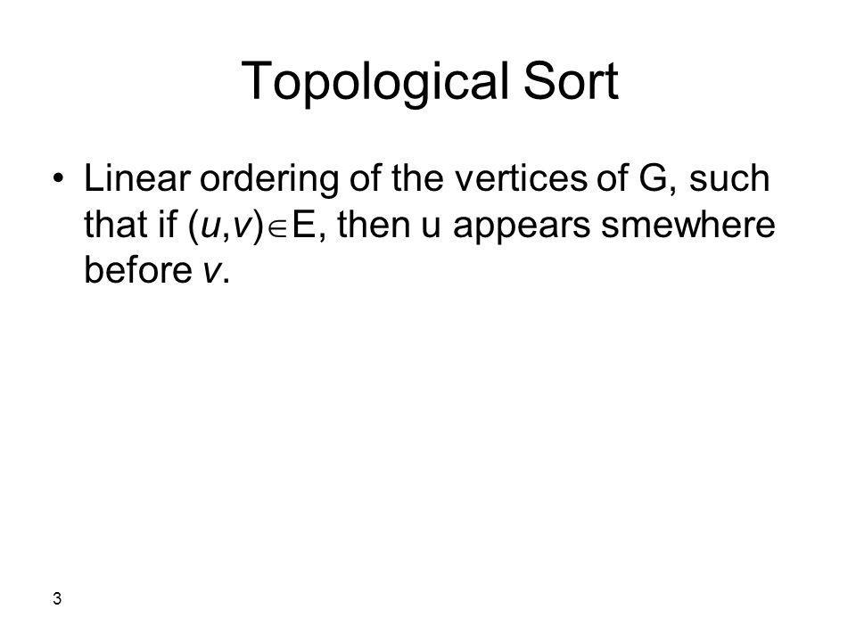 Topological Sort Linear ordering of the vertices of G, such that if (u,v)E, then u appears smewhere before v.