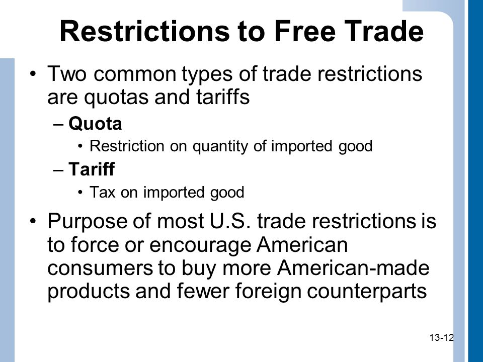 Restrictions to Free Trade
