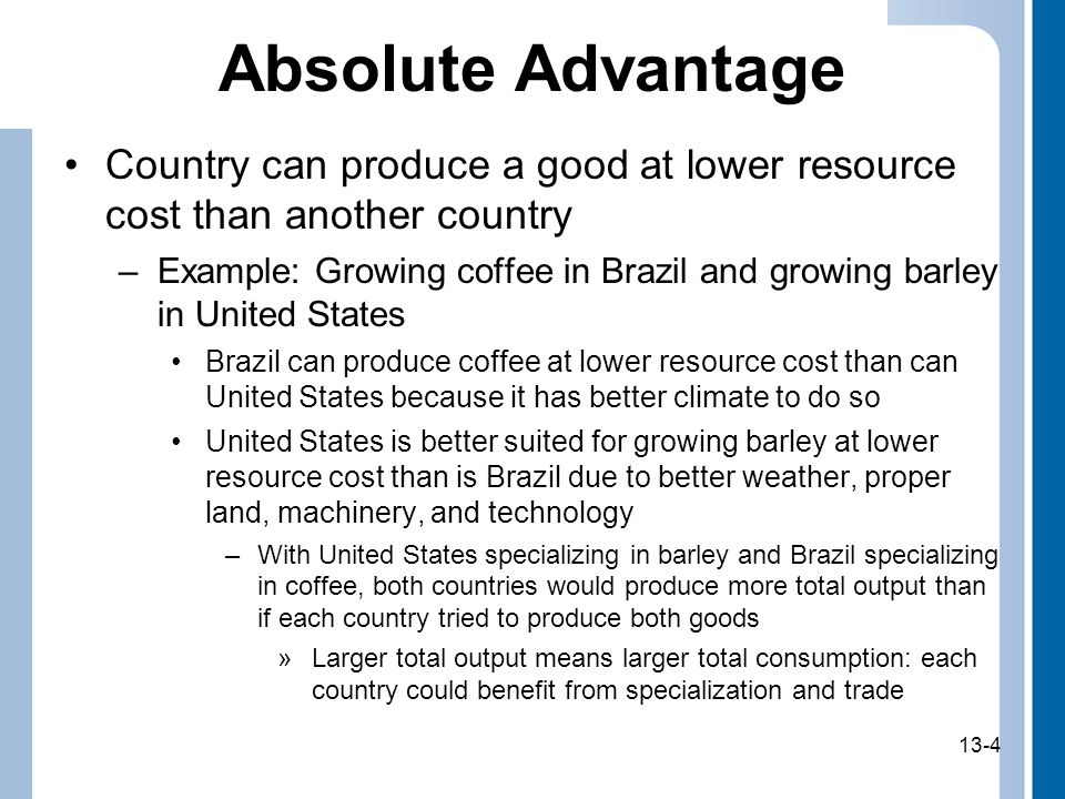 Absolute Advantage Country can produce a good at lower resource cost than another country.