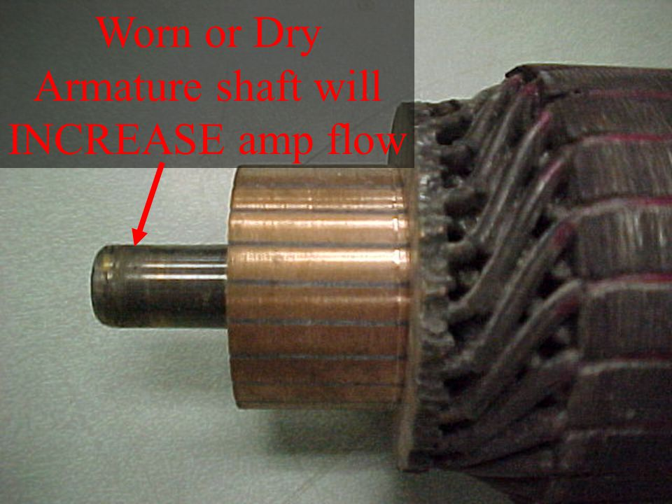 Worn or Dry Armature shaft will INCREASE amp flow