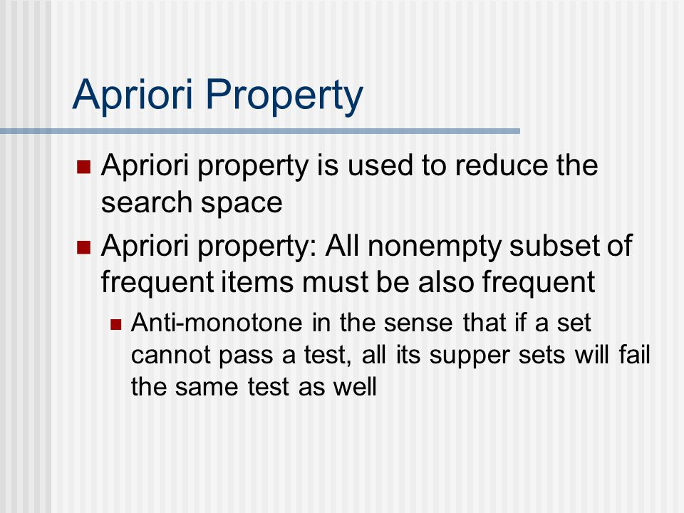 Apriori Property Apriori property is used to reduce the search space