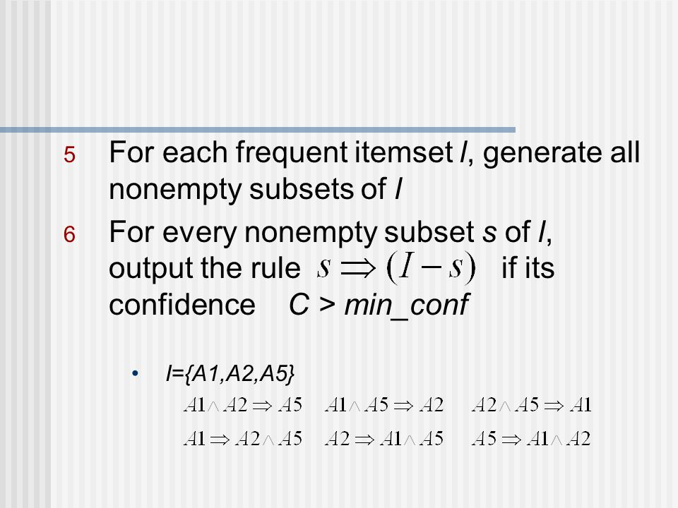 For each frequent itemset l, generate all nonempty subsets of l