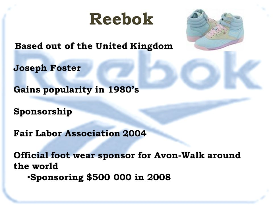 Reebok Joseph Foster Gains popularity in 1980's Sponsorship