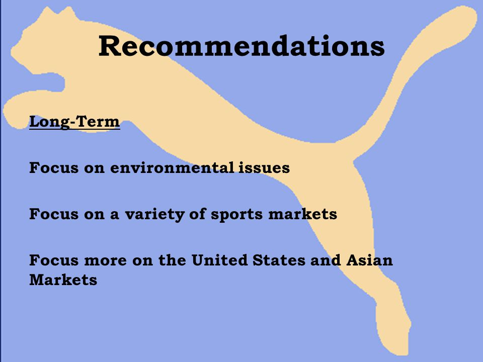 Recommendations Long-Term Focus on environmental issues Focus on a variety of sports markets Focus more on the United States and Asian Markets