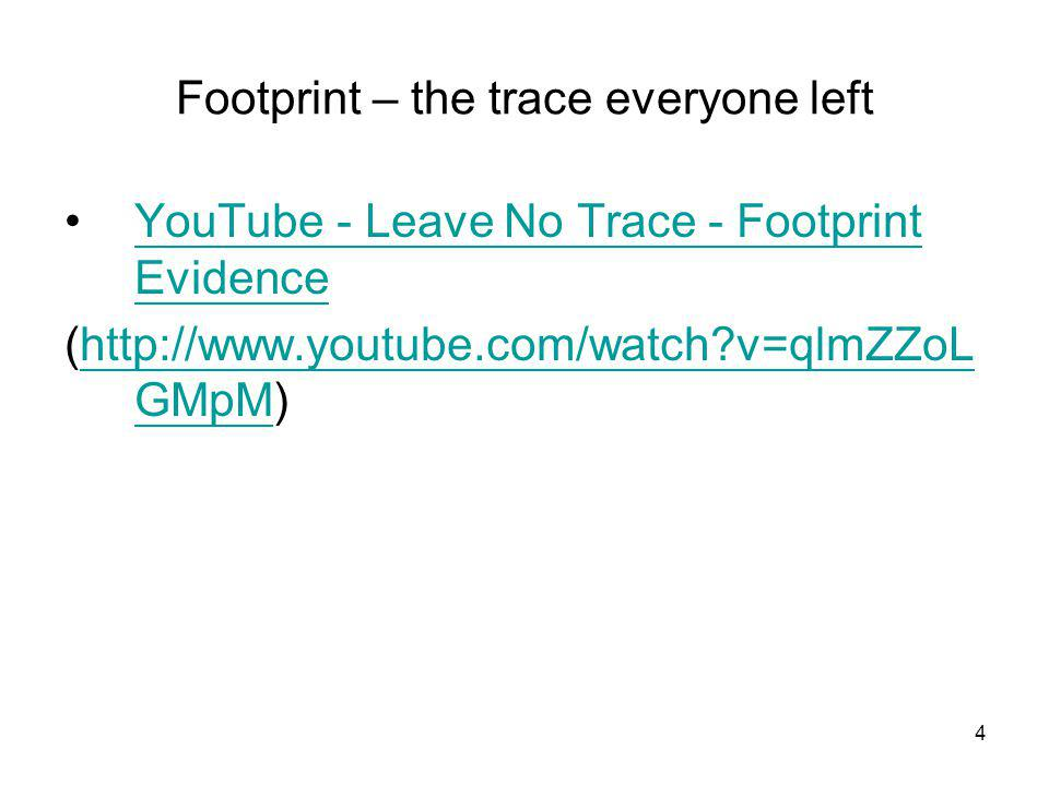 Footprint – the trace everyone left