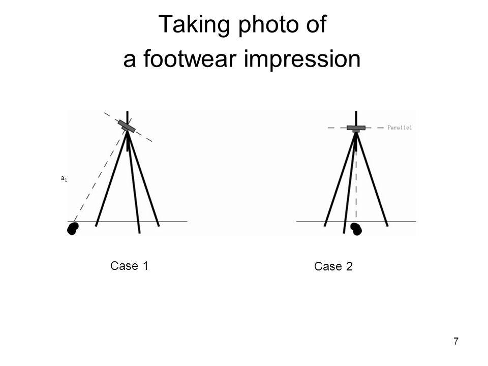 Taking photo of a footwear impression