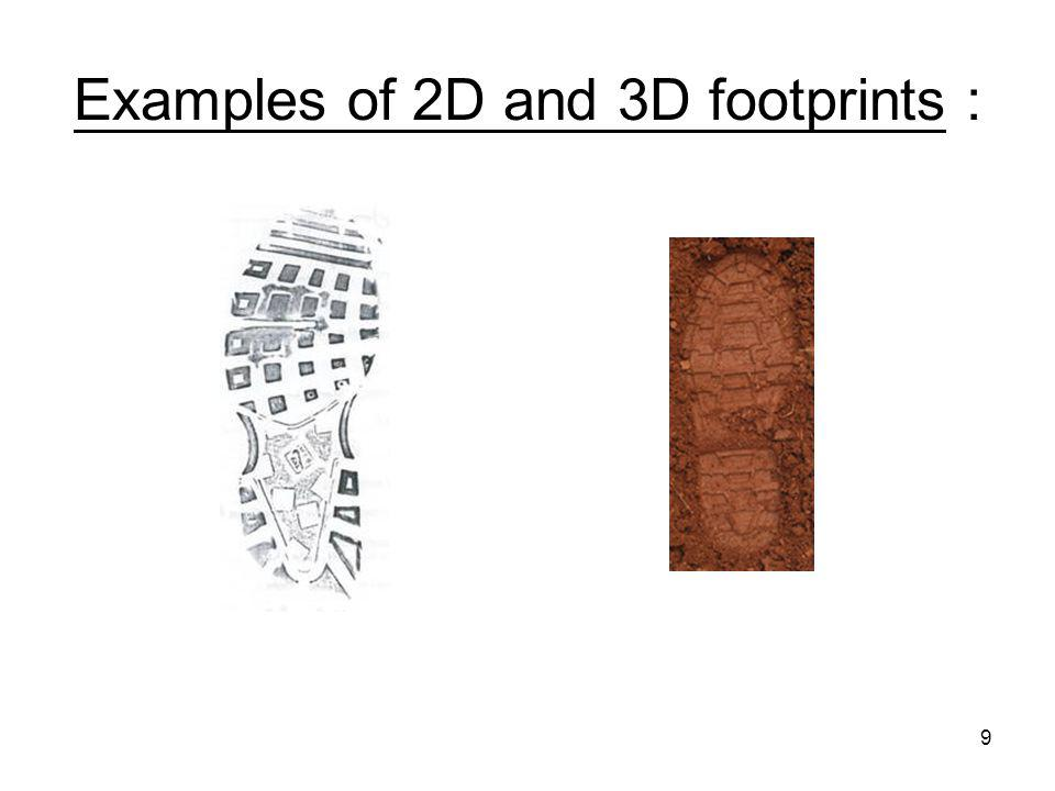 Examples of 2D and 3D footprints :