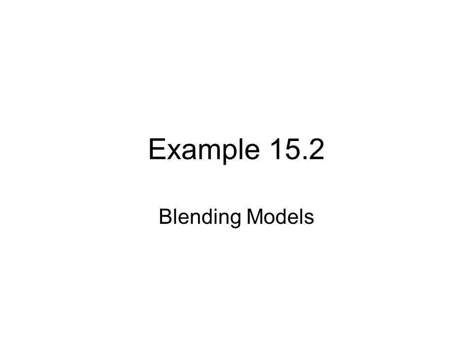 Example 15.2 Blending Models