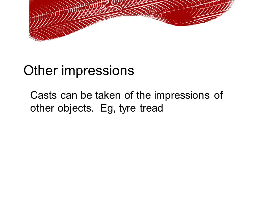 Other impressions Casts can be taken of the impressions of