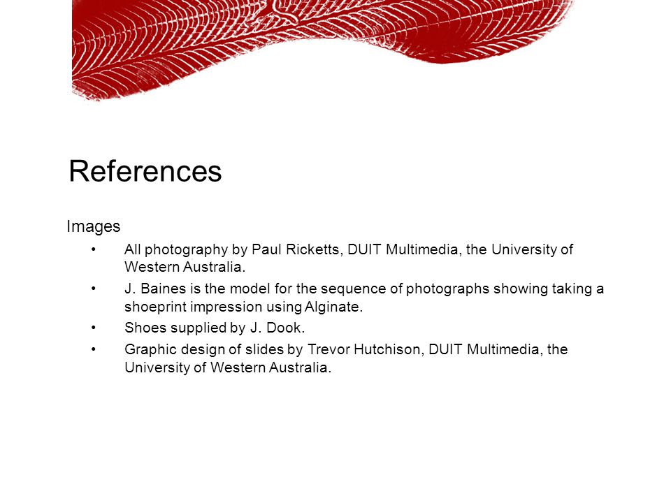 References Images. All photography by Paul Ricketts, DUIT Multimedia, the University of Western Australia.
