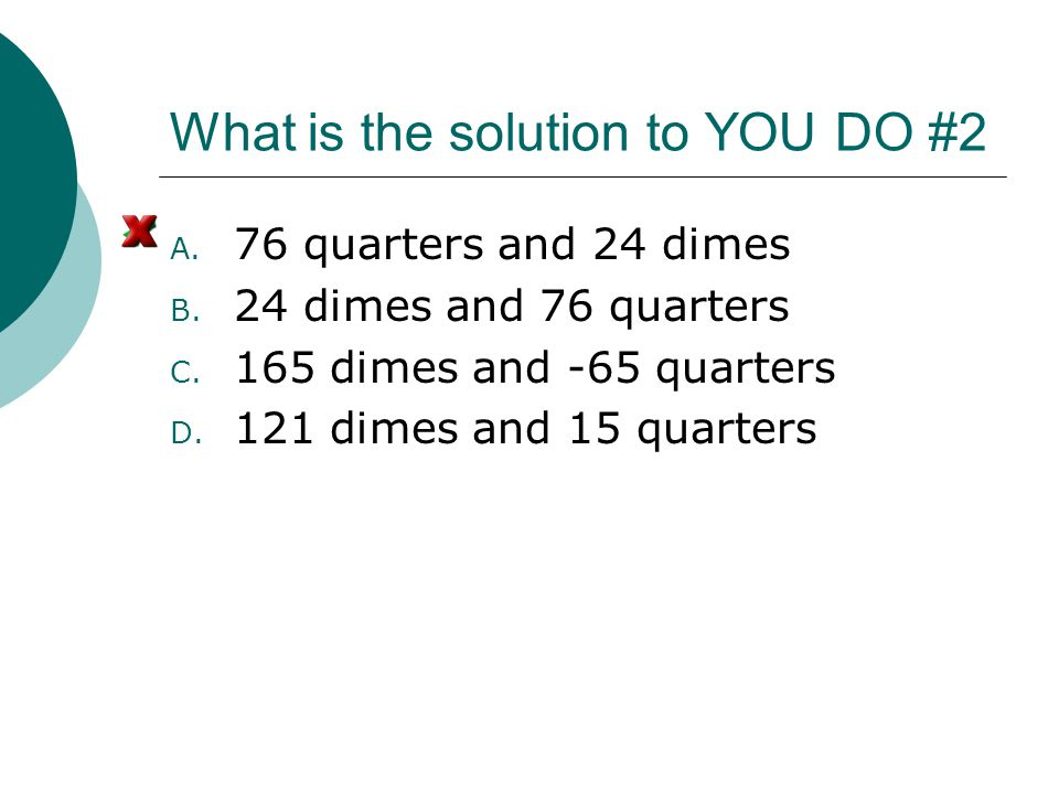 What is the solution to YOU DO #2