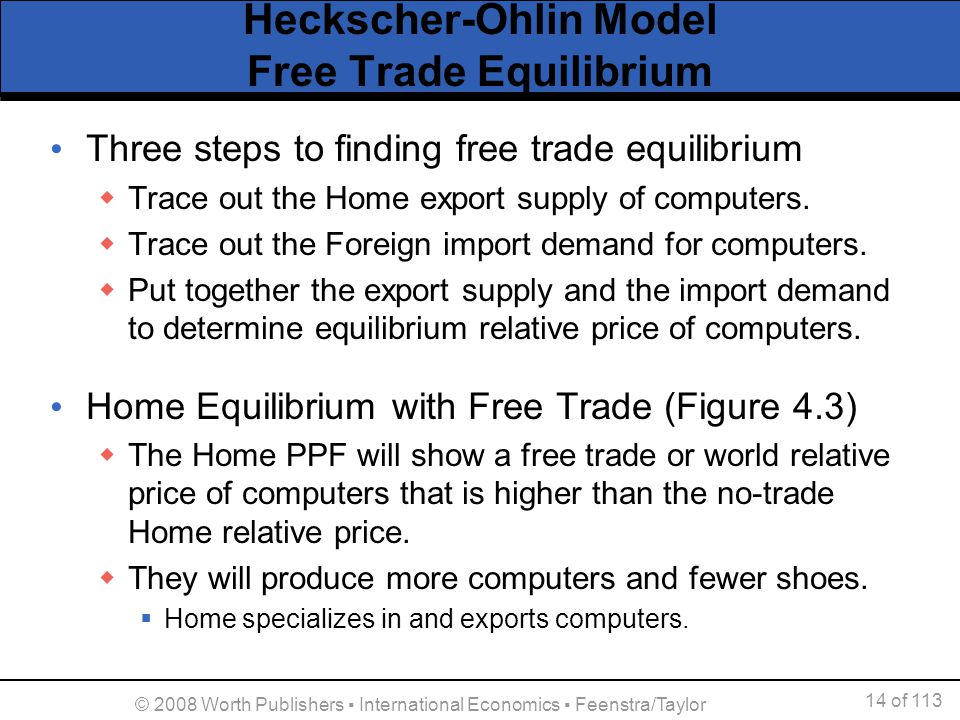 Heckscher-Ohlin Model Free Trade Equilibrium