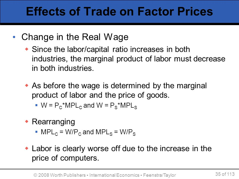 Effects of Trade on Factor Prices
