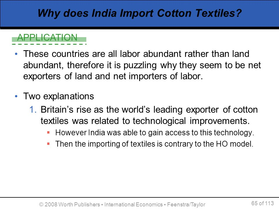 Why does India Import Cotton Textiles