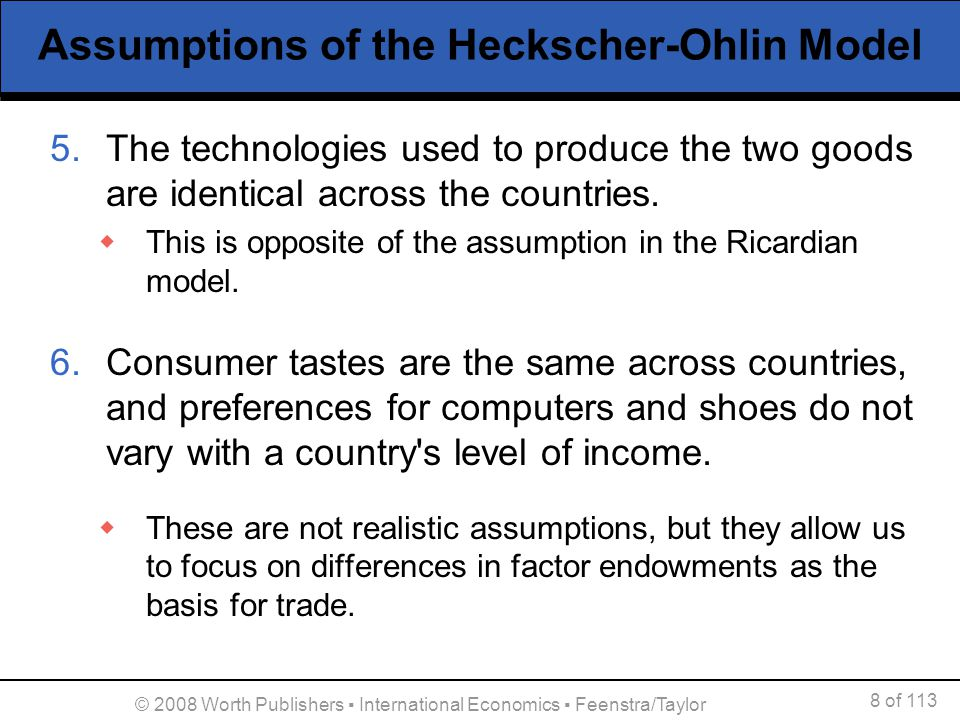 Assumptions of the Heckscher-Ohlin Model