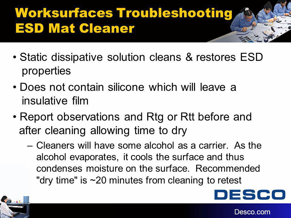Worksurfaces Troubleshooting ESD Mat Cleaner