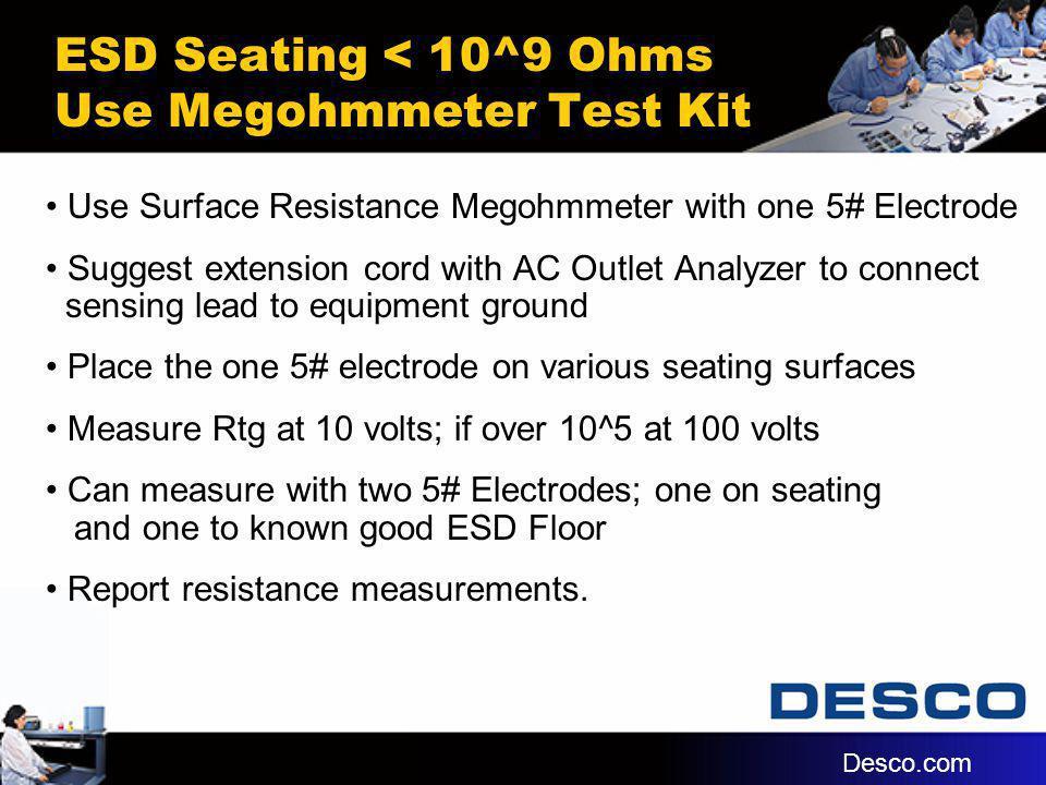 ESD Seating < 10^9 Ohms Use Megohmmeter Test Kit