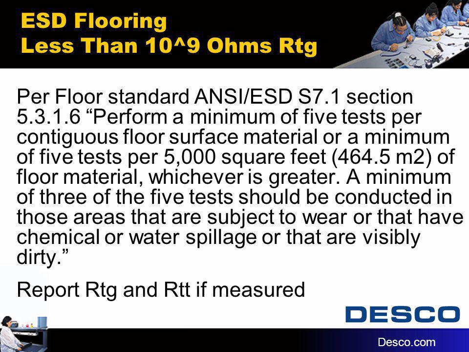 ESD Flooring Less Than 10^9 Ohms Rtg