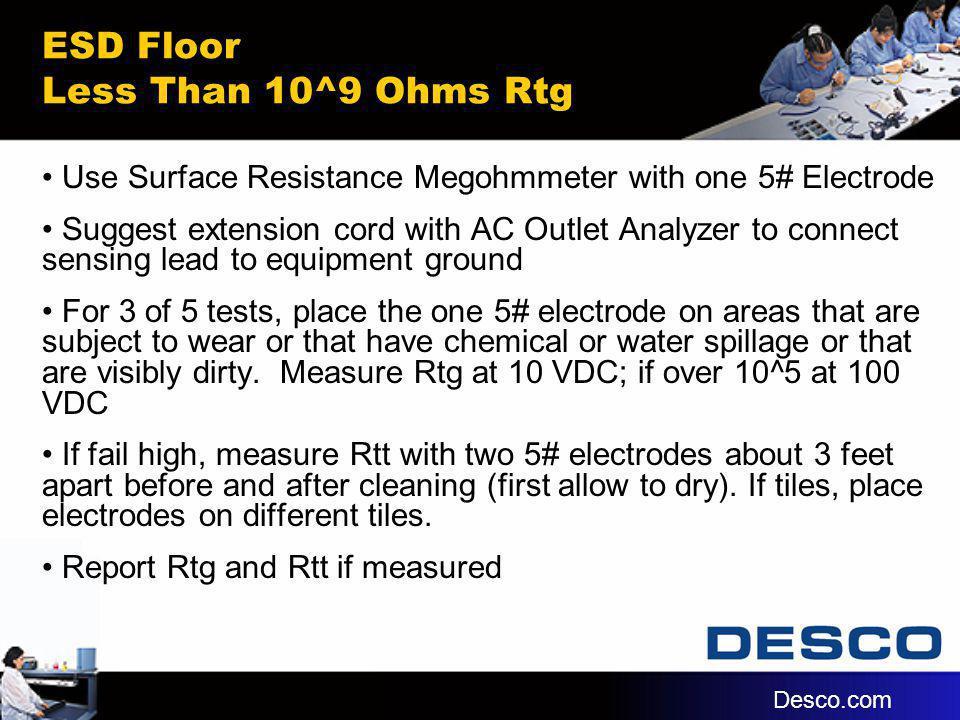 ESD Floor Less Than 10^9 Ohms Rtg