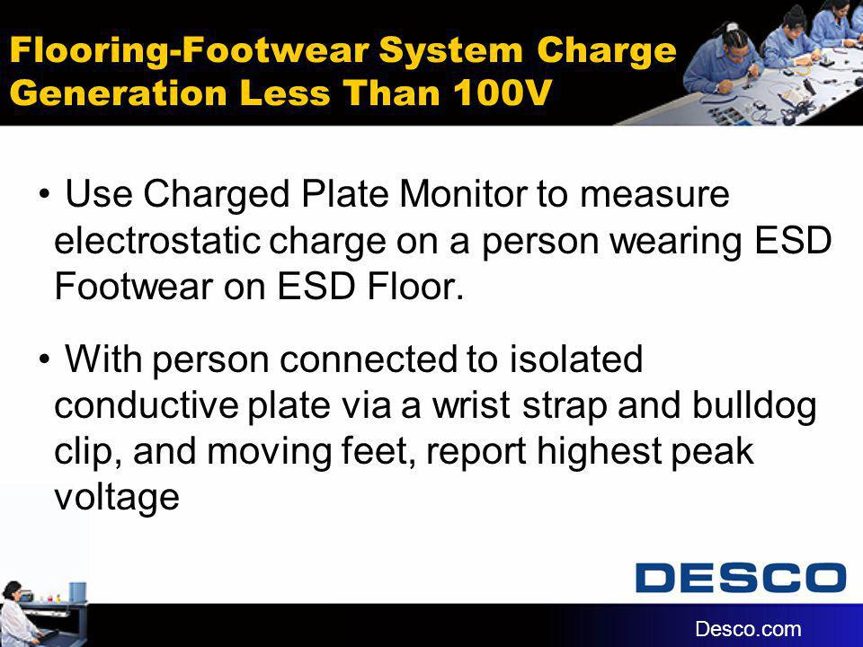 Flooring-Footwear System Charge Generation Less Than 100V