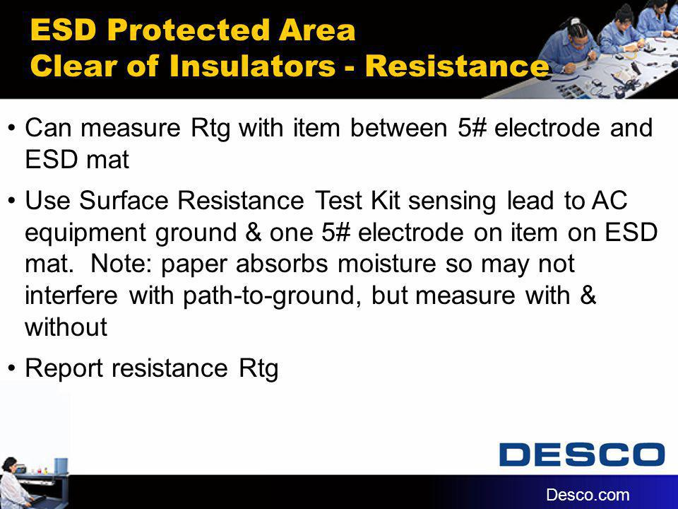 ESD Protected Area Clear of Insulators - Resistance