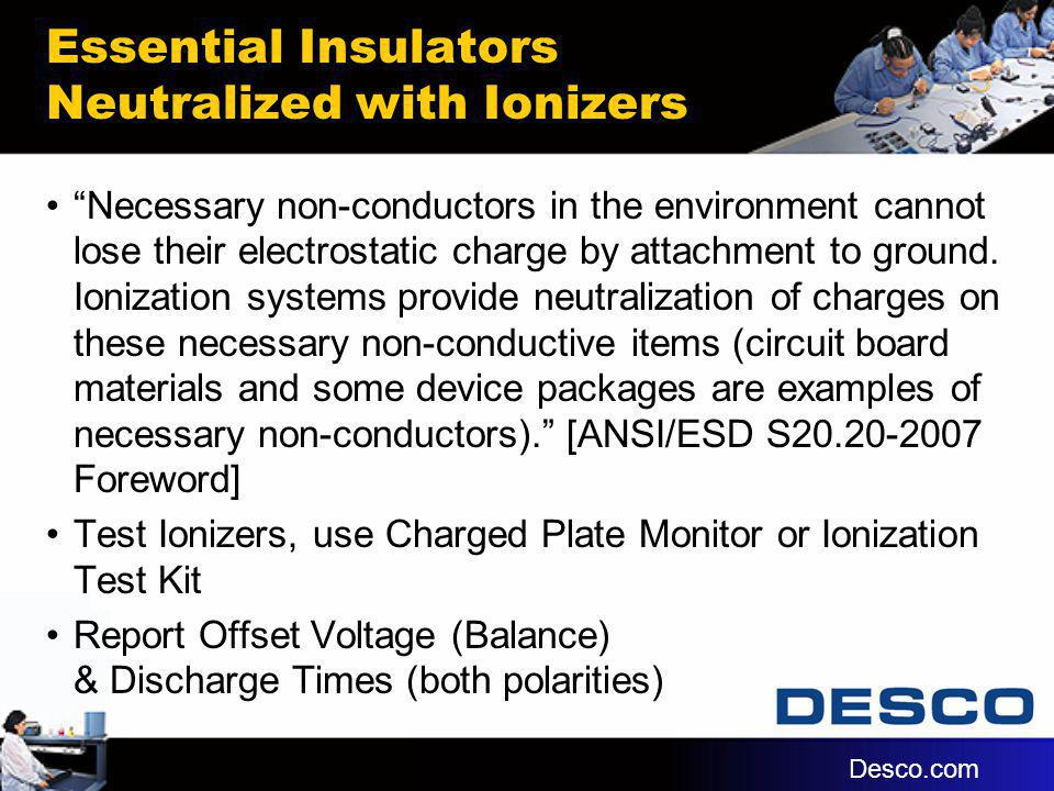 Essential Insulators Neutralized with Ionizers