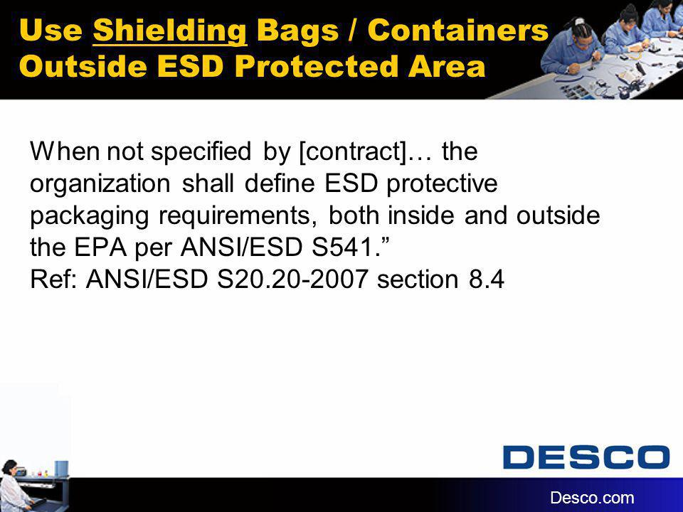 Use Shielding Bags / Containers Outside ESD Protected Area