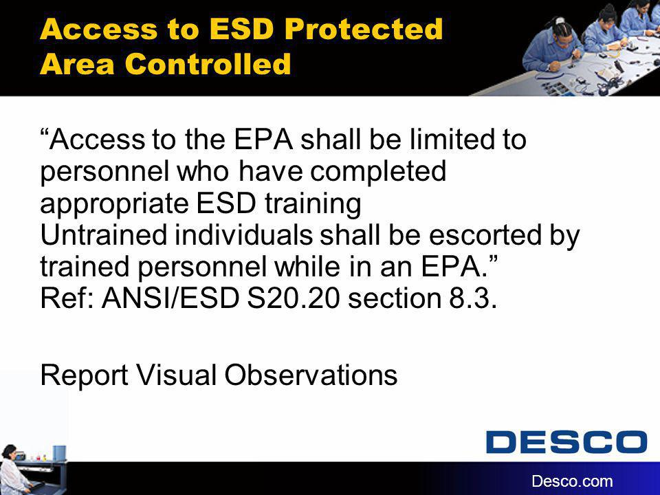 Access to ESD Protected Area Controlled