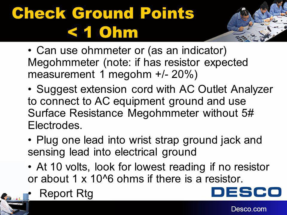 Check Ground Points < 1 Ohm