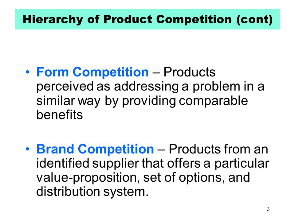 Hierarchy of Product Competition (cont)