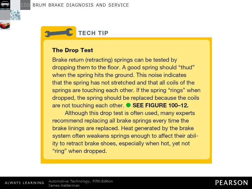 TECH TIP: The Drop Test Brake return (retracting) springs can be tested by dropping them to the floor. A good spring should thud when the spring hits the ground. This noise indicates that the spring has not stretched and that all coils of the springs are touching each other. If the spring rings when dropped, the spring should be replaced because the coils are not touching each other. - SEE FIGURE 100–12 . Although this drop test is often used, many experts recommend replacing all brake springs every time the brake linings are replaced. Heat generated by the brake system often weakens springs enough to affect their ability to retract brake shoes, especially when hot, yet not ring when dropped.
