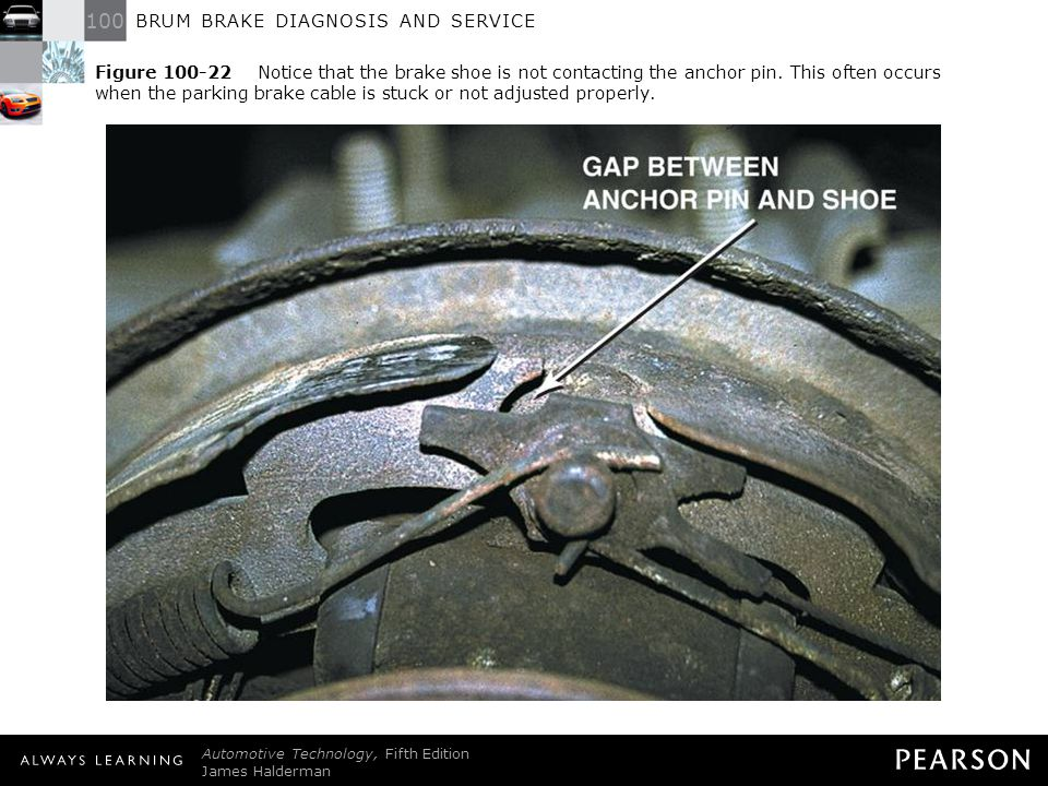 Figure 100-22 Notice that the brake shoe is not contacting the anchor pin. This often occurs when the parking brake cable is stuck or not adjusted properly.