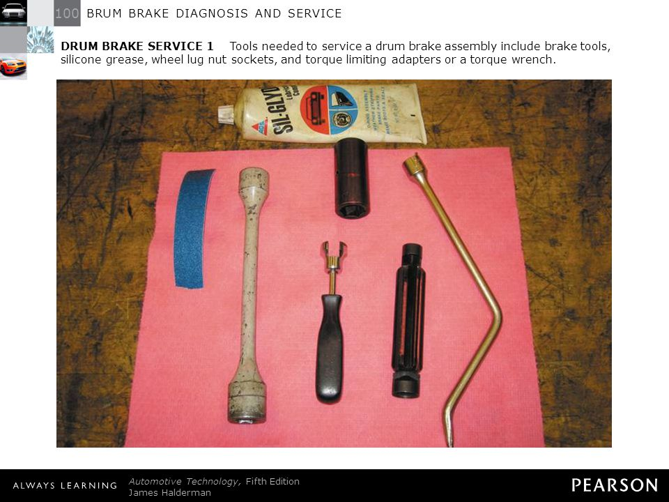 DRUM BRAKE SERVICE 1 Tools needed to service a drum brake assembly include brake tools, silicone grease, wheel lug nut sockets, and torque limiting adapters or a torque wrench.