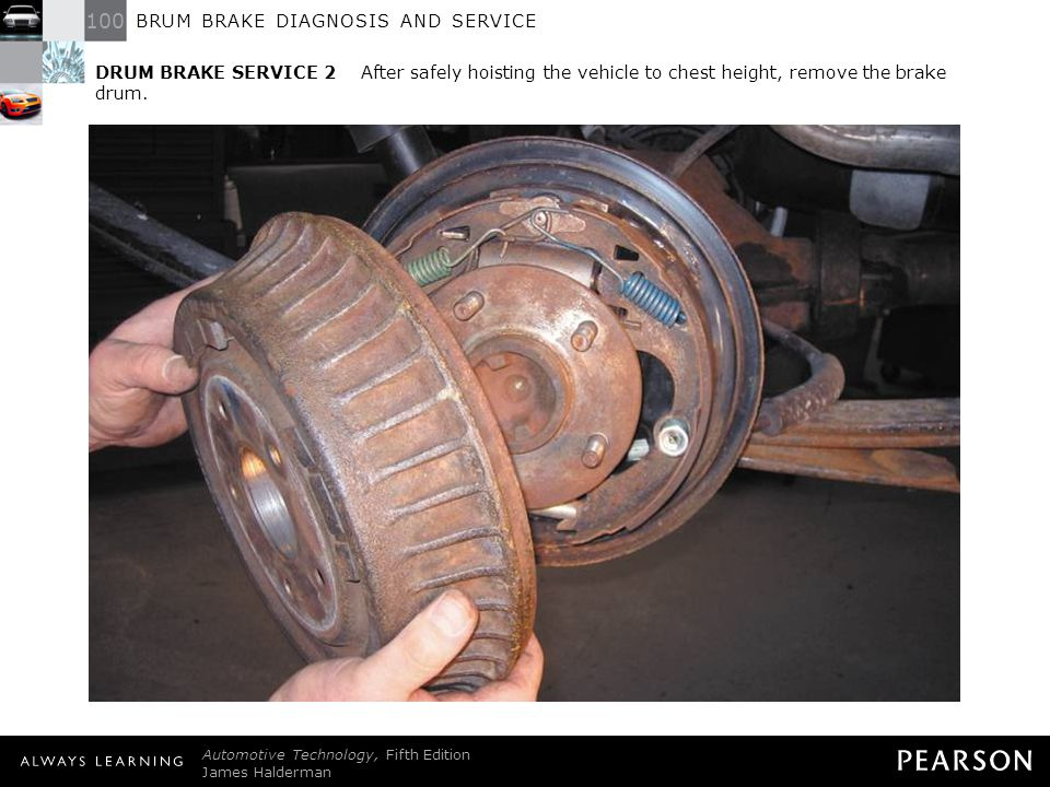 DRUM BRAKE SERVICE 2 After safely hoisting the vehicle to chest height, remove the brake drum.