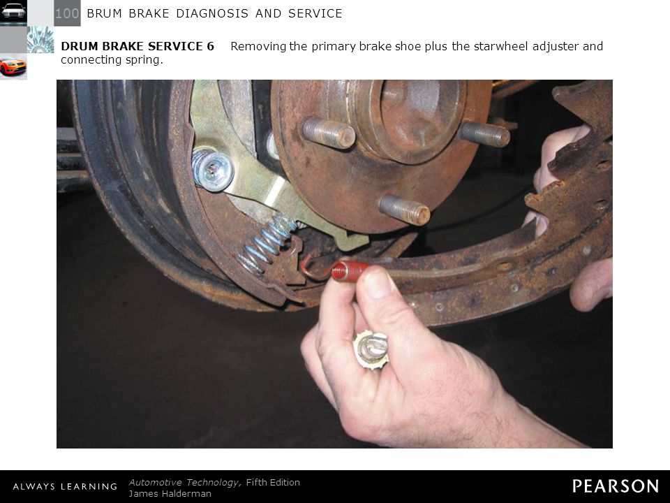 DRUM BRAKE SERVICE 6 Removing the primary brake shoe plus the starwheel adjuster and connecting spring.