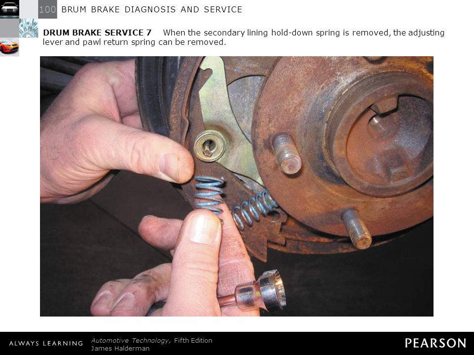 DRUM BRAKE SERVICE 7 When the secondary lining hold-down spring is removed, the adjusting lever and pawl return spring can be removed.