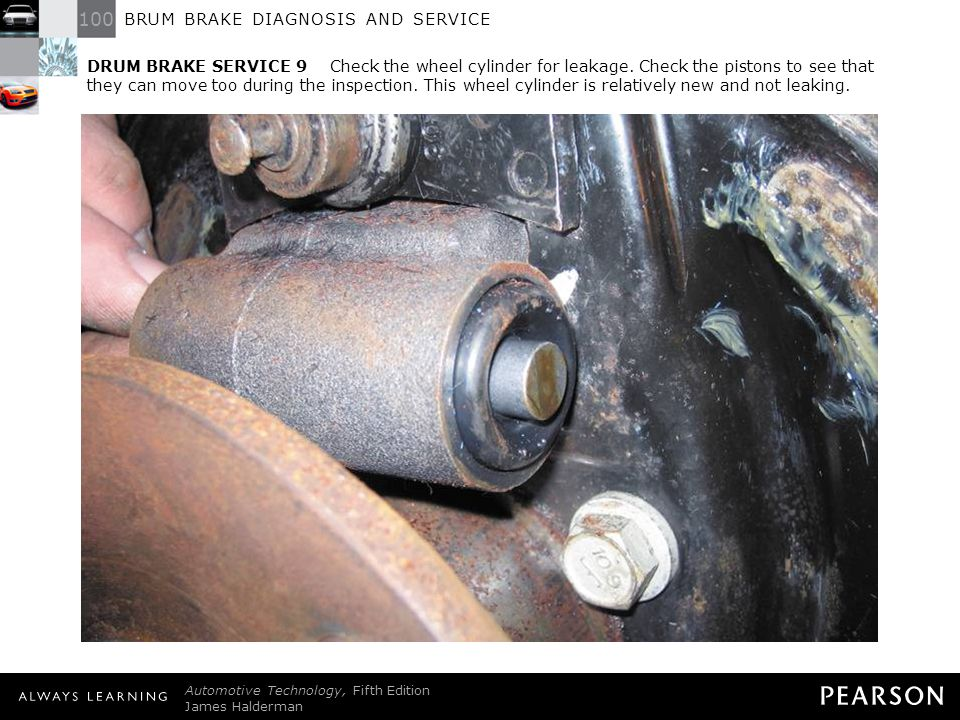 DRUM BRAKE SERVICE 9 Check the wheel cylinder for leakage