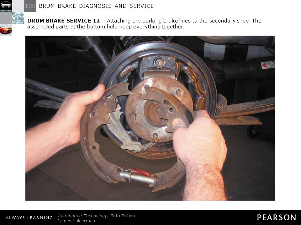 DRUM BRAKE SERVICE 12 Attaching the parking brake lines to the secondary shoe. The assembled parts at the bottom help keep everything together.