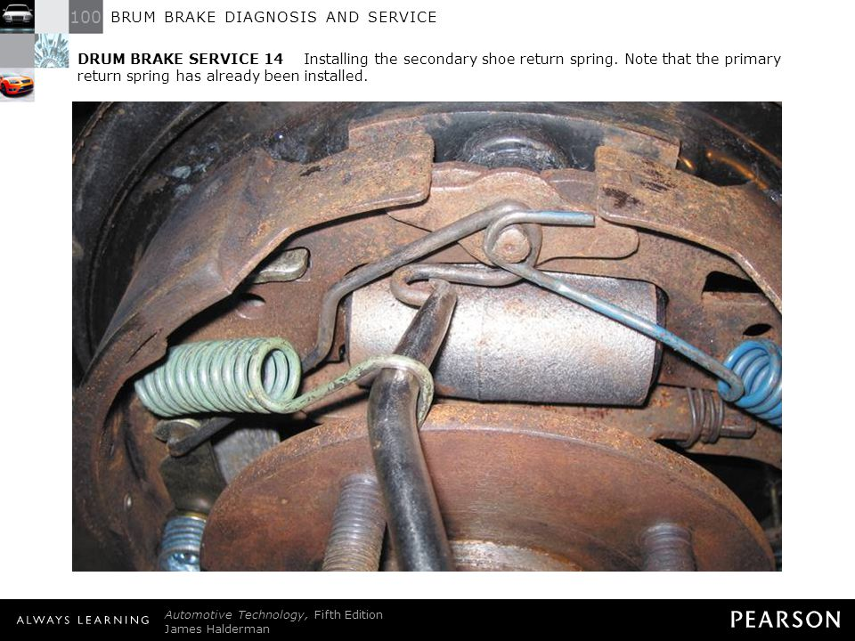 DRUM BRAKE SERVICE 14 Installing the secondary shoe return spring