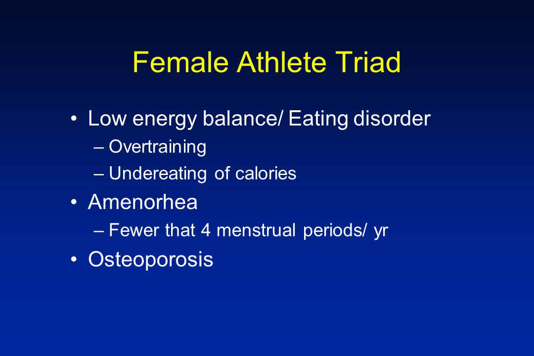Female Athlete Triad Low energy balance/ Eating disorder Amenorhea