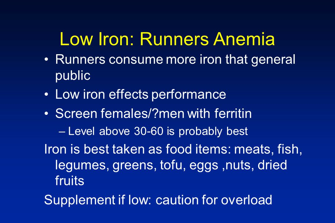 Low Iron: Runners Anemia