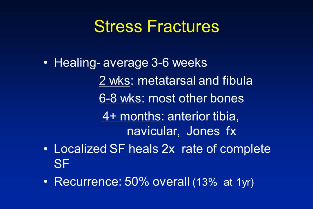 Stress Fractures Healing- average 3-6 weeks