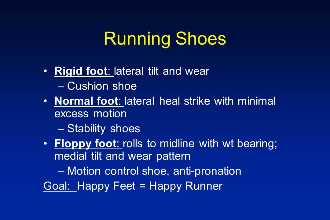 Running Shoes Rigid foot: lateral tilt and wear Cushion shoe