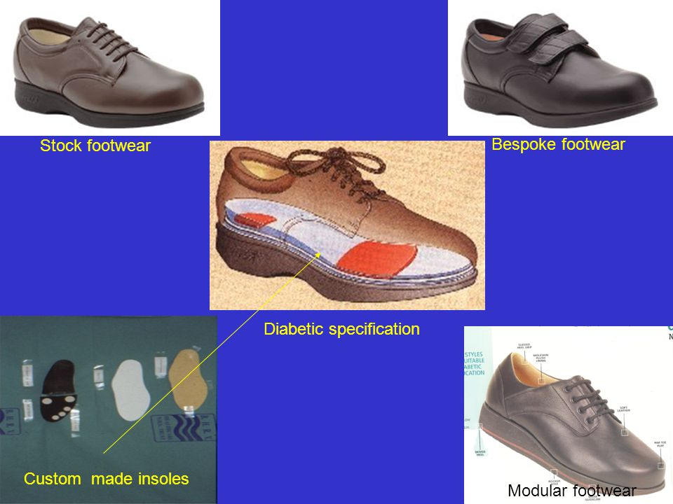 Stock footwear Bespoke footwear Diabetic specification Custom made insoles Modular footwear