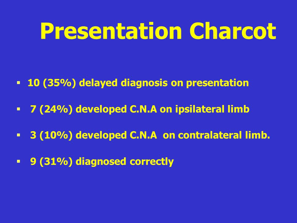Presentation Charcot 10 (35%) delayed diagnosis on presentation