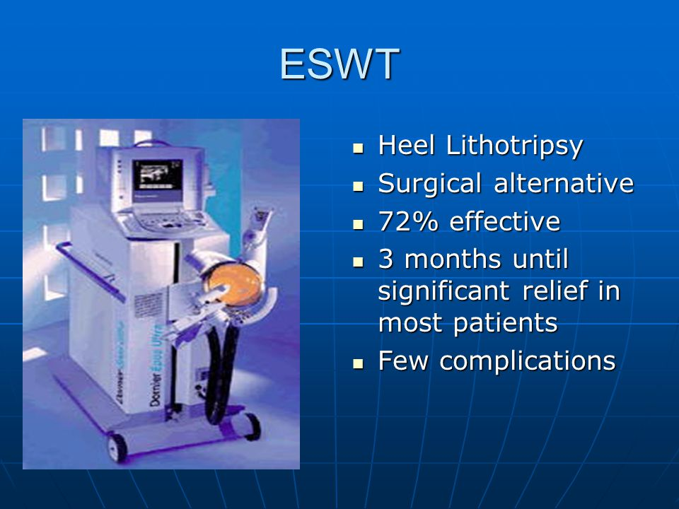 ESWT Heel Lithotripsy Surgical alternative 72% effective