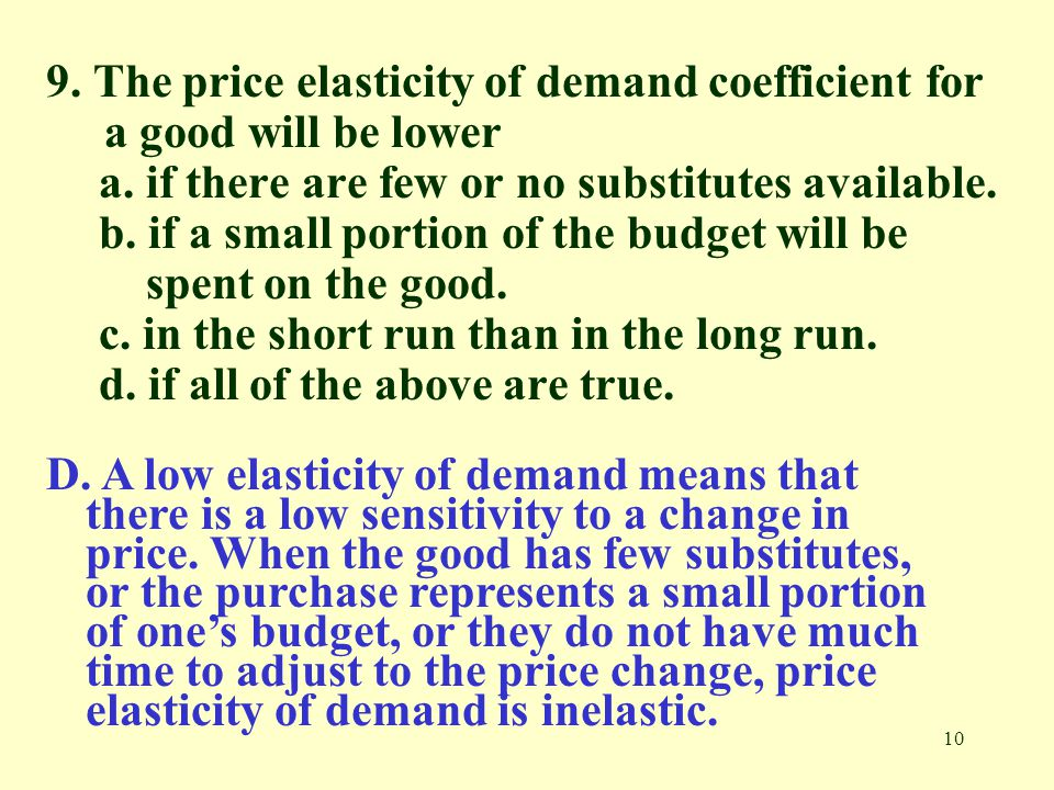 9. The price elasticity of demand coefficient for