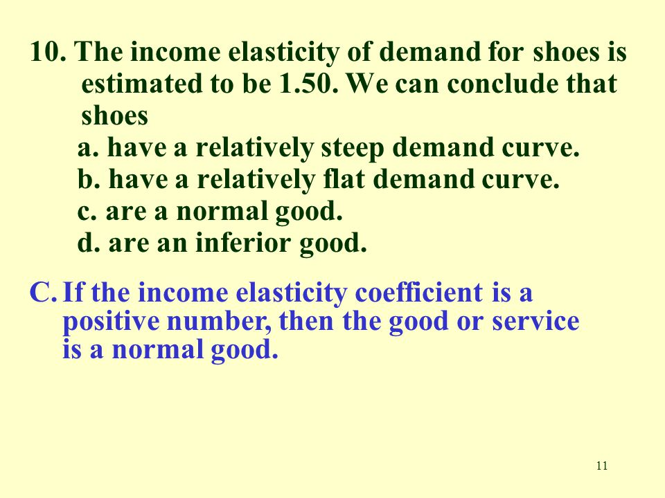10. The income elasticity of demand for shoes is