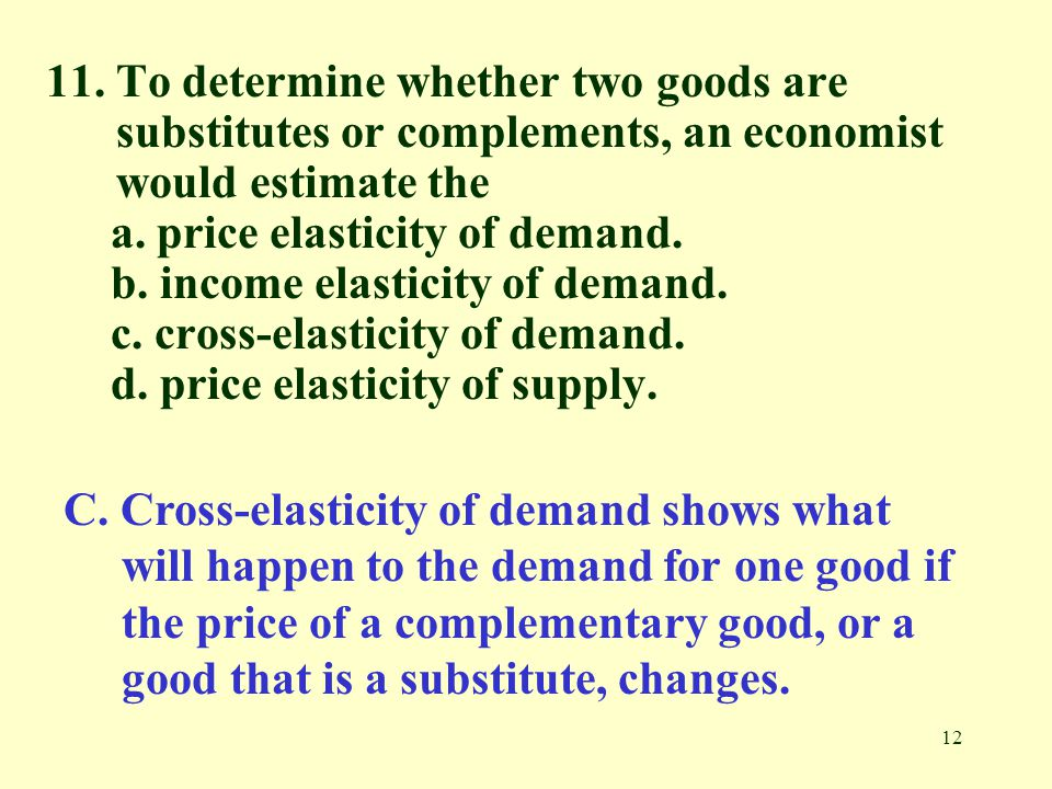 11. To determine whether two goods are