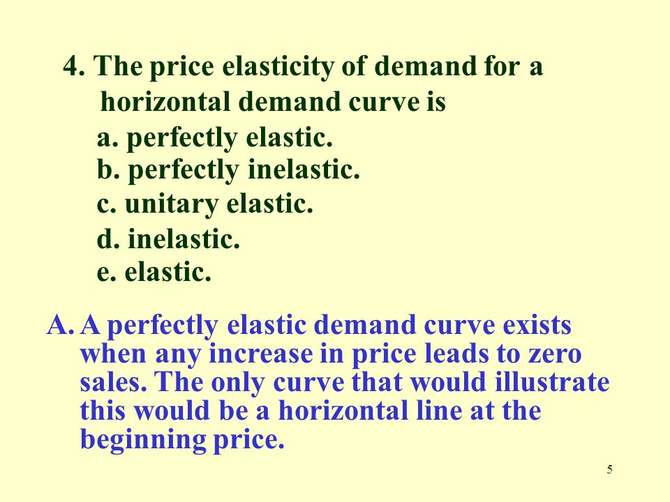4. The price elasticity of demand for a